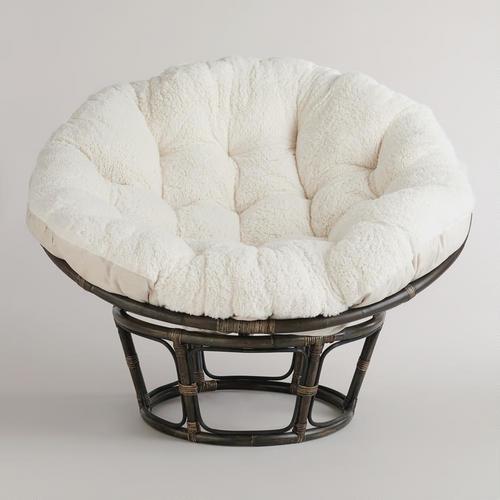 Ivory Faux Fur Papasan Cushion contemporary-living-room-chairs
