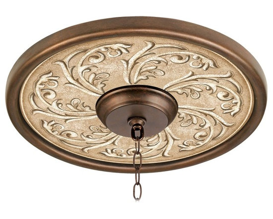 """Lamps Plus - Traditional Sarah Ann 16"""" Wide Bronze Finish Ceiling Medallion - This giclee pattern ceiling medallion transforms your existing fixture into a work of art. Its custom printed pattern on canvas is a reproduction of an artisan hand-painting. The giclee canvas is mounted on a 16"""" wide Valencia Bronze finish medallion which is lightweight and installs easily to your ceiling with multi-purpose adhesive (not included). Polypropylene construction. Canopy and chain not included. Please note this is a custom made-to-order piece. Valencia Bronze finish. Giclee pattern on canvas. Polypropylene construction. Lightweight and easy to install. Adhesive not included. 16"""" wide. 4"""" center opening.  Valencia Bronze finish.   Giclee pattern on canvas.   Polypropylene construction.   Lightweight and easy to install.   Adhesive not included.   16"""" wide.   4"""" center opening."""