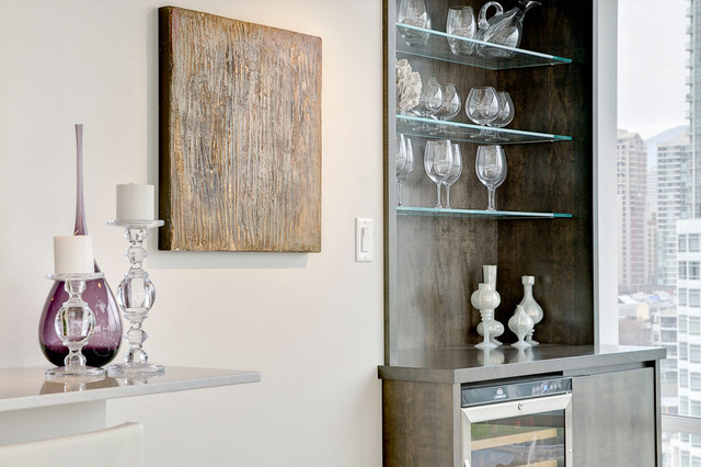 Condo over False Creek modern-dining-room