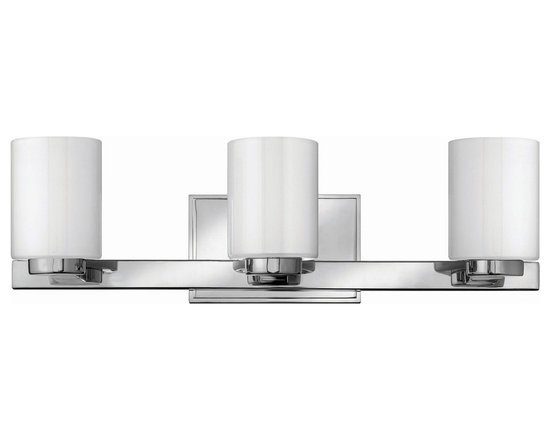 Miley Bath Bar 3-Light by Hinkley Lighting - Miley bath bar features Inside-painted white glass shade with chrome finish. Available in a wall scone, and 2, 3, and 4 light bath bar versions. 60 watt, 120 volt, G9 halogen lamps, included. General light distribution. C-UL-us Dry listed.