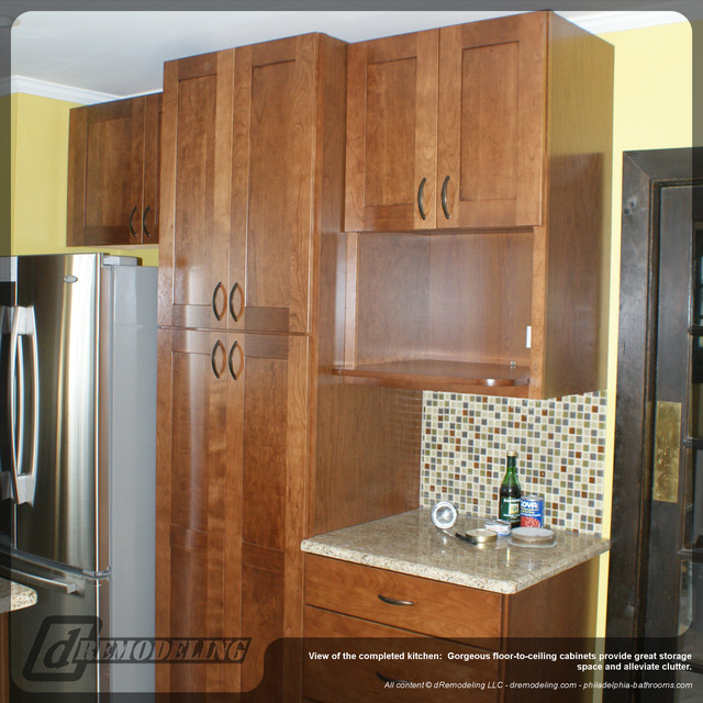 Floor to ceiling wood kitchen cabinets - Traditional - Kitchen - philadelphia - by dRemodeling