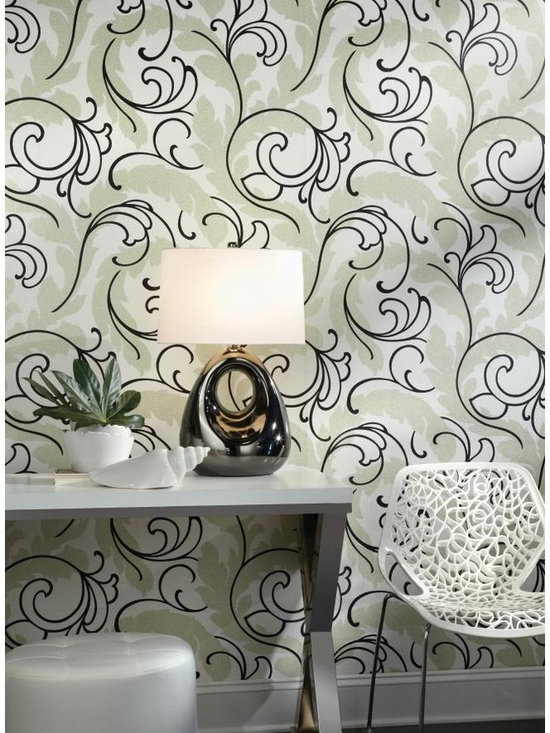 Serpentine Scroll Wallpaper - WallpapHer - The scale is bold, with faux crock as the field and large, lacy scrolling leaves in the forefront. Raised inks on this wallcovering are embellished with metallic touches. Color selections include matte taupe and glittering silver with stone grey or patent leather white and cobalt blue with turquoise and silver glitter plus four more.