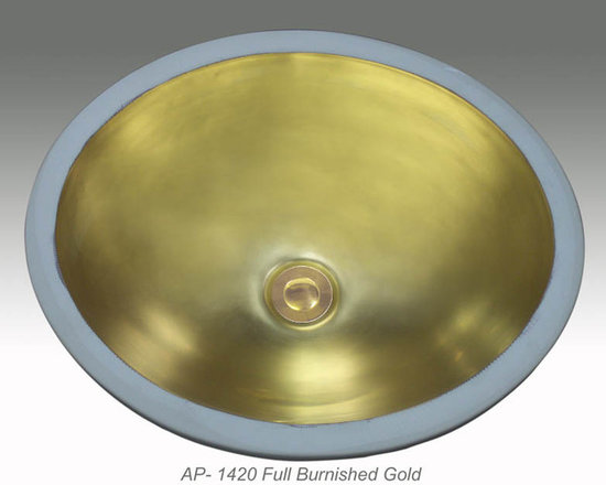 "Hand Painted Undermounts by Atlantis Porcelain - ""FULL BURNISHED GOLD"" Shown on AP-1420 white Monaco Medium undermount 17-1/4""x14-1/4"". Available on burnished gold or platinum on any of our sinks."
