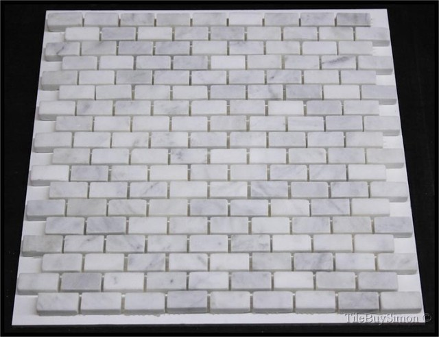 White Carara Marble Mosaics traditional bathroom tile