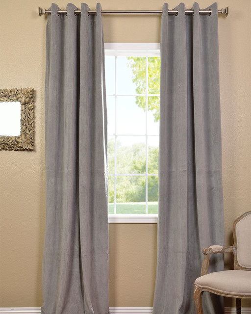 ... Silver Grey Velvet Blackout Curtain Panel contemporary-curtains