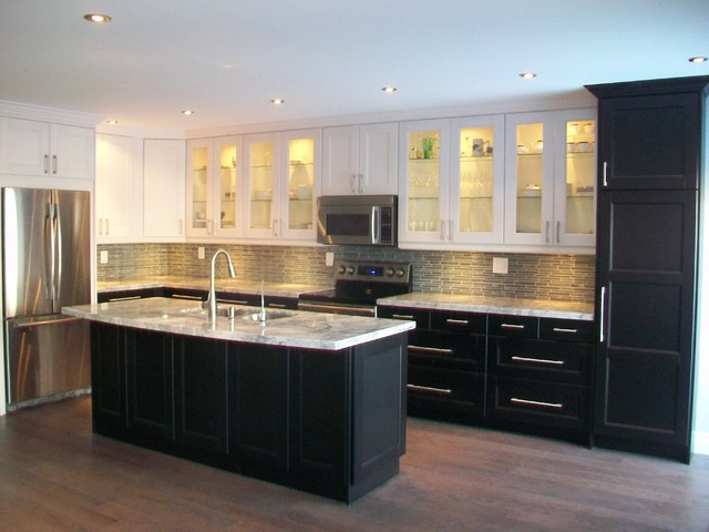 Ikea kitchens ramsjo white and ramsjo black brown for Most modern kitchen cabinets