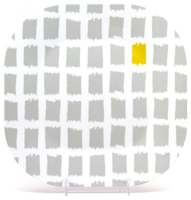 "11"" Square Plate Urban Block - Platinum Patches contemporary-dinner-plates"