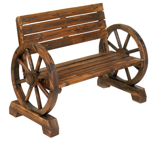 Wagon Wheel Garden Bench Rustic Outdoor Benches By Koolekoo