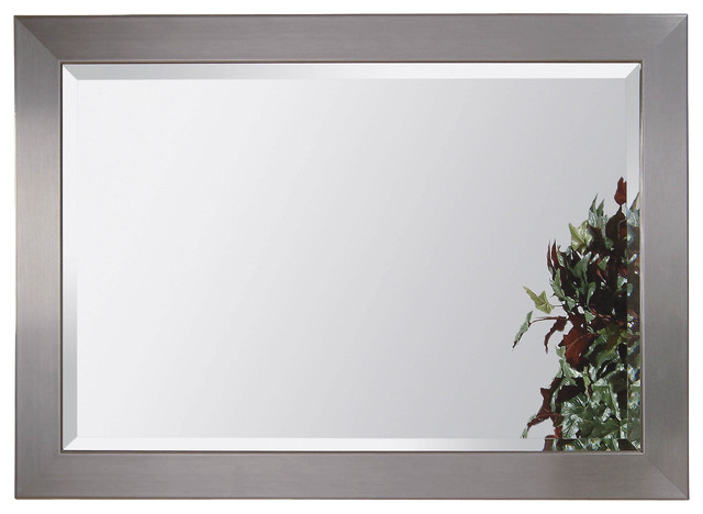 Stainless Steel Beveled Rectangle Wall Mirror contemporary-mirrors