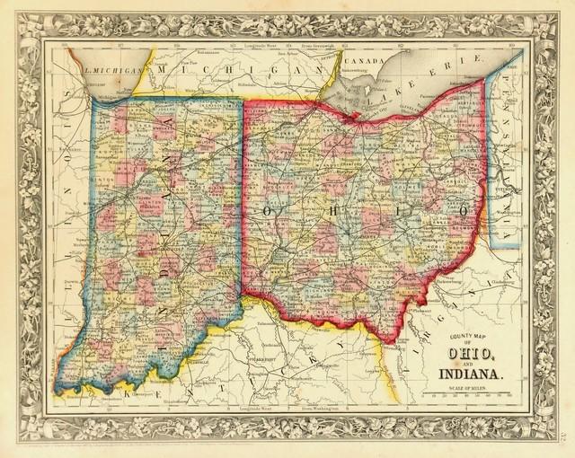 Consignment Original Antique Map Of Ohio Amp Indiana 1860