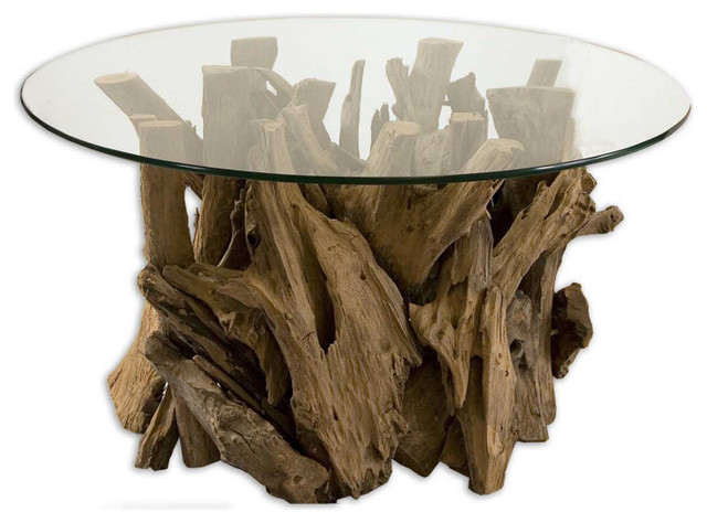Driftwood Cocktail Table Teak Wood Accent Table With Glass Top Rustic Side Tables And End