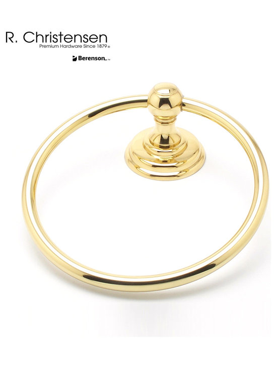 2111US3 Polished Brass Towel Ring by R. Christensen - 7-inch long traditional style towel ring by R. Christensen in Polished Brass.
