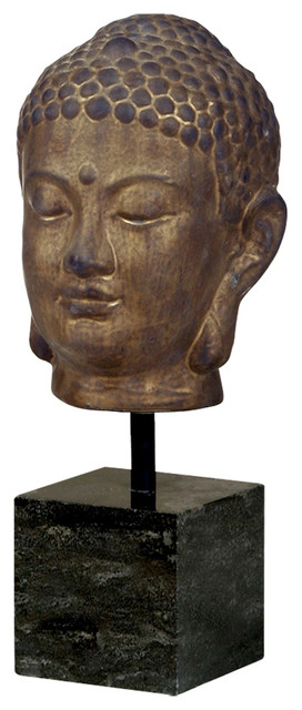 Large Bronze Buddha Head Sculpture on Marble Base asian-garden-statues-and-yard-art