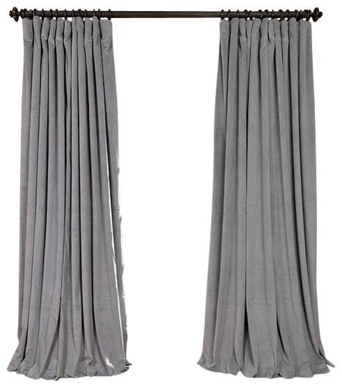 signature silver gray velvet blackout curtain 100 x120. Black Bedroom Furniture Sets. Home Design Ideas