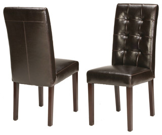 Genuine Leather Tufted Dining Chair Traditional Dining