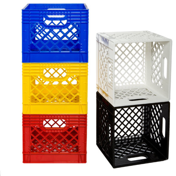 Authentic dairy crate modern storage bins and boxes for What to do with milk crates