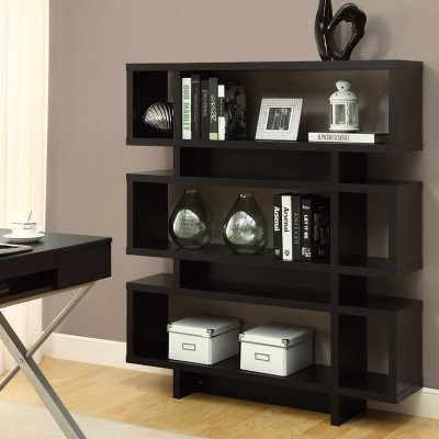 ... Hollow-Core 55 in. Modern Bookcase - Cappuccino modern-bookcases