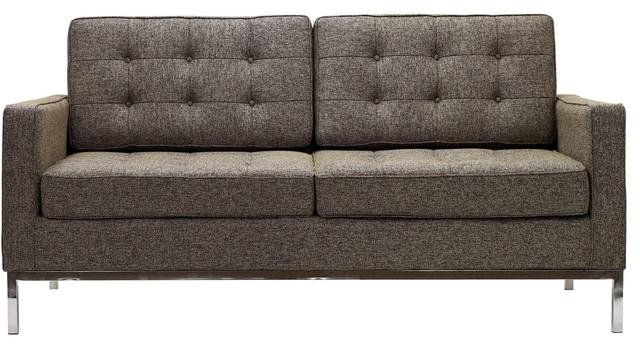 Florence Style Loveseat in Oatmeal Wool modern-love-seats