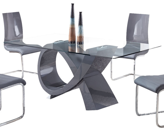 Global Furniture USA 989DT Rectangular Glass Top Dining Table In Grey