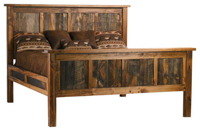 Wyoming collection reclaimed barnwood bed full size rustic beds
