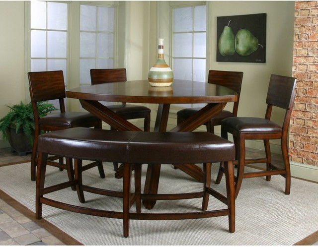 Cramco Shiraz 6-Piece Counter Height Dining Set with Bench Multicolor - 87683-62 traditional-dining-sets