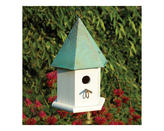 Grandin Road - Songbird Hanging Bird House - Songbird birdhouse with mini perch. Classically simple white house of durable cypress wood. Verdigris copper roof. Compact size works well in small spaces. Set a beautiful stage for the arrival of beloved songbirds by placing our stylish Songbird Hanging Birdhouse in your garden. Who knows what wonderful, trilling little creatures might call this finely crafted copper-roofed haven home? Finding just the right location for this birdhouse is a breeze, thanks to its compact size.  .  .  .  . Made in USA.