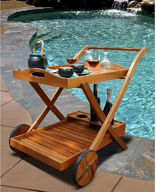 Hana Eucalyptus Wood Serving Cart - contemporary - patio furniture
