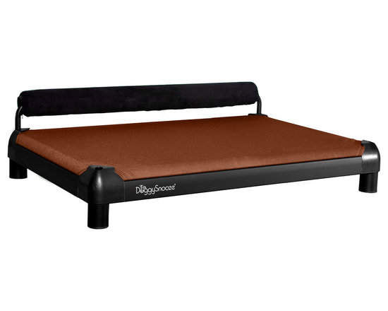 DoggySnooze - snoozeSleeper, Anodized Frame, Memory Foam, 1 Bolster Blk - It's a dog's life for pooches who get to snooze on this contemporary dog bed. Elevated for comfort with a sturdy bolster for support, this bed comes in a selection of colors to complement your home or office decor. Made in the USA and available in three sizes, with optional black anodized frame, long legs and memory foam.