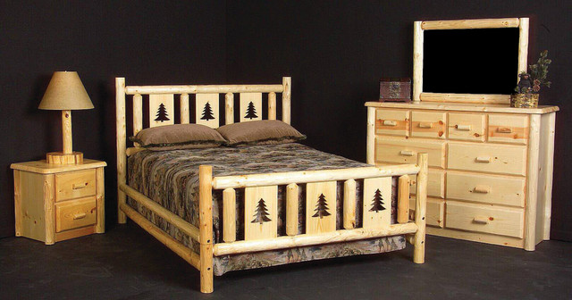 Rustic Montana Log Bed traditional-bedroom