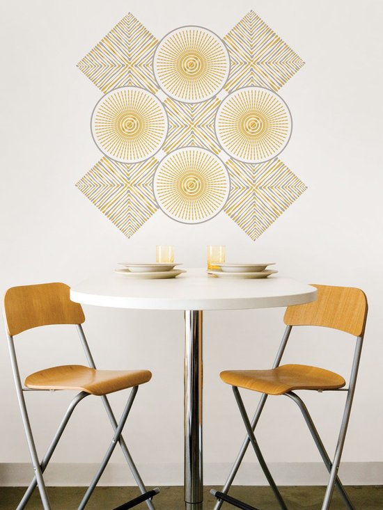 Santorini Dots & Blox - WallPops by Jonathan Adler designer wall decals. Santorini has a shimmering mylar detail and a chic silver and gold palette.