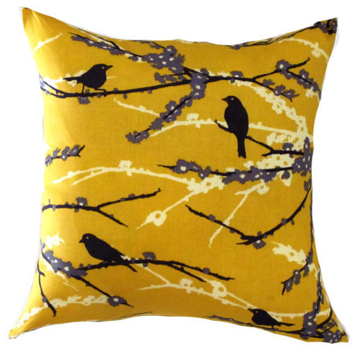 Yellow Pillow Cover-Mustard Bird Pillow-Yellow Floral Pillow-Yellow Cushion- 16x - Contemporary ...