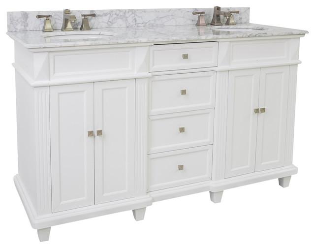 Lyn Design VAN094D-60-T-MW, White Marble Top modern-bathroom-vanities-and-sink-consoles