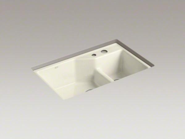 "KOHLER Indio(R) 33"" x 21-1/8"" x 9-3/4"" under-mount Smart Divide(R) large/small d contemporary-kitchen-sinks"