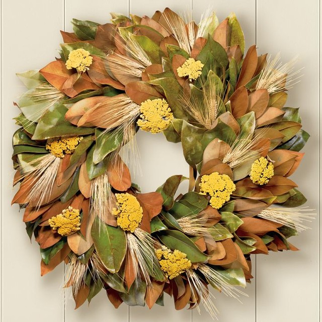 Magnolia & Wheat Wreath traditional outdoor decor