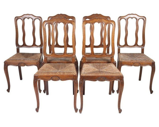 Pre-owned Louis XV-Style Dining Chairs - Set of 6 - Set of 6 Louis XV-style chairs with removable rush seats. Can't go wrong with this classic traditional yet rustic look!
