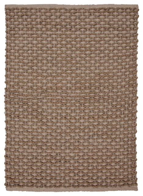 """Naturals Stripe Pattern Cotton/ Polyester Taupe/Ivory Area Rug (24"""" x 40"""") midcentury-rugs"""