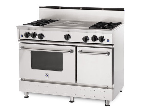 """48"""" BlueStar RNB French Top Gas Range - Stainless Steel 48"""" RNB French Top Gas Range has 4 Top Burners with French Top"""