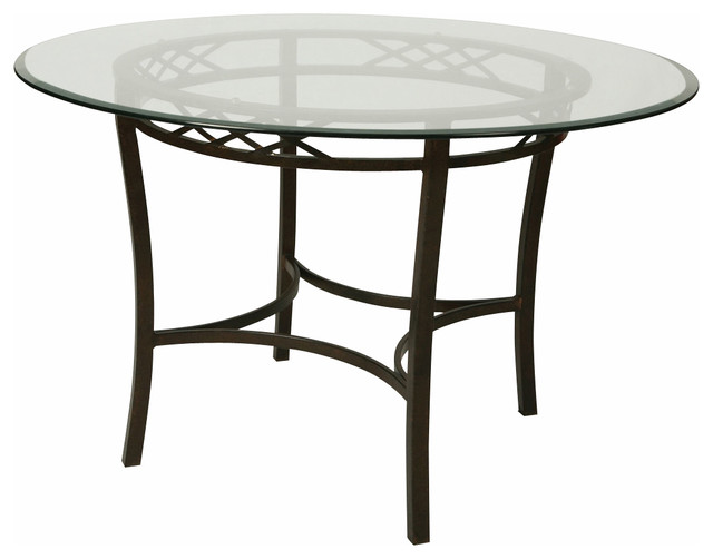 pastel atrium 48 inch round bevel glass dining table in autumn rust