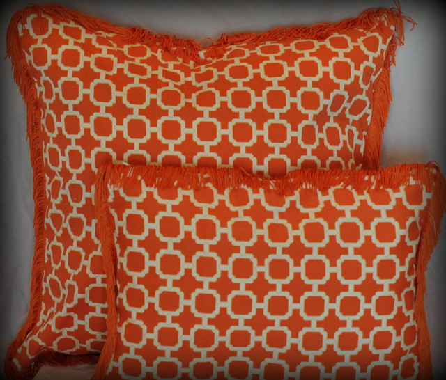 Orange and White Lattice pillow with fringe trim - Modern - Decorative Pillows
