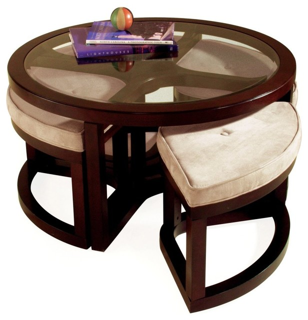 Magnussen T1020 Juniper Wood Round Coffee Table With 4