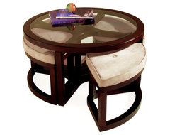 Magnussen T1020 Juniper Wood Round Coffee Table with 4 Stools modern coffee tables