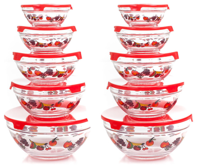Chef Buddy 20 Piece Glass Bowl Set with Lids ...