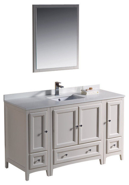 54 inch single sink bathroom vanity in antique white - Antique traditional bathroom vanities design ...