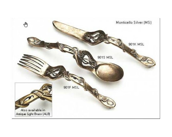 Antique Pewter Cabinet Pulls - Antique Pewter Cabinet Hardware available at: http://rusticahardware.com/fork-spoon-or-knife-pull/