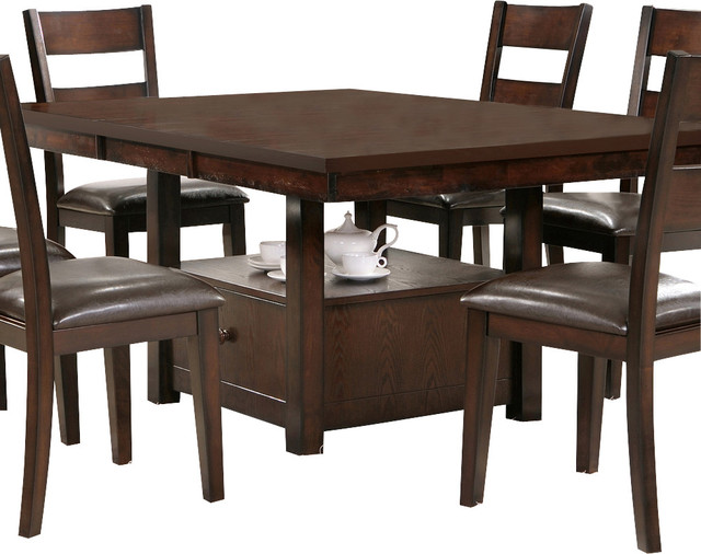 Steve silver gibson dining to counter table with for Traditional dining table bases