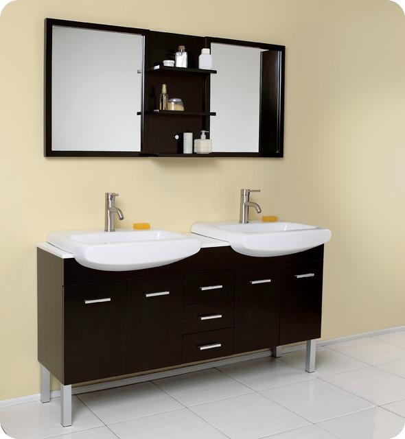 "59.75"" Vetta Double Sink Vanity with Mirror (FVN6193ES) modern-bathroom-vanities-and-sink-consoles"