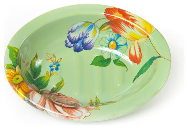 Flower Market Enamel Soap Dish - Green   MacKenzie-Childs eclectic-bathroom-accessories