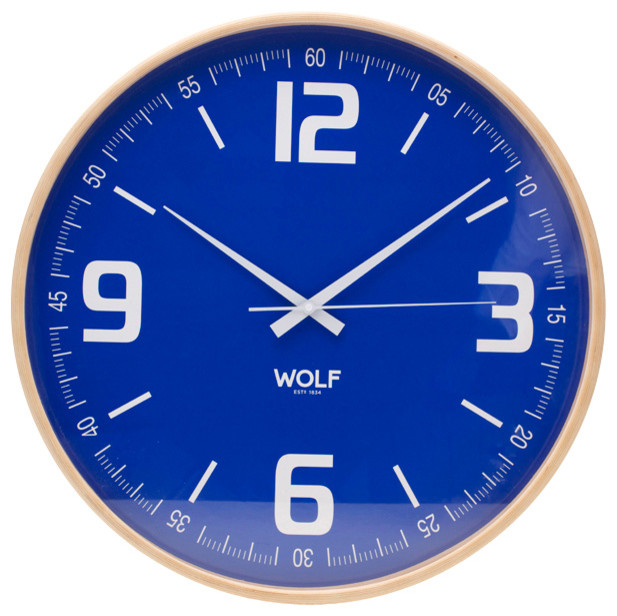 Large Wooden Wall Clock, Blue - Modern - Clocks - by WOLF