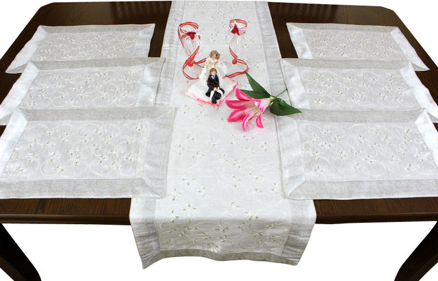 Hand Embroidered 7-Piece Placemat & Table Runner Set, Snow White asian-tablecloths