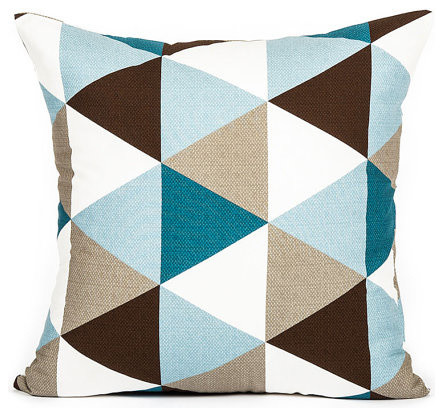 Modern Teal Decorative Throw Pillow : Modern Sky Blue & Teal Brown Triangle Pattern Throw Pillow Cover, 20